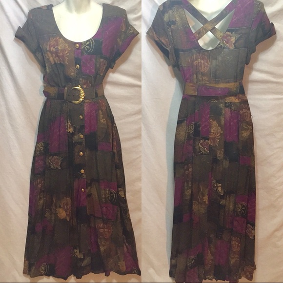 Vintage Dresses & Skirts - Vintage 80s button front pinup dress 50s style